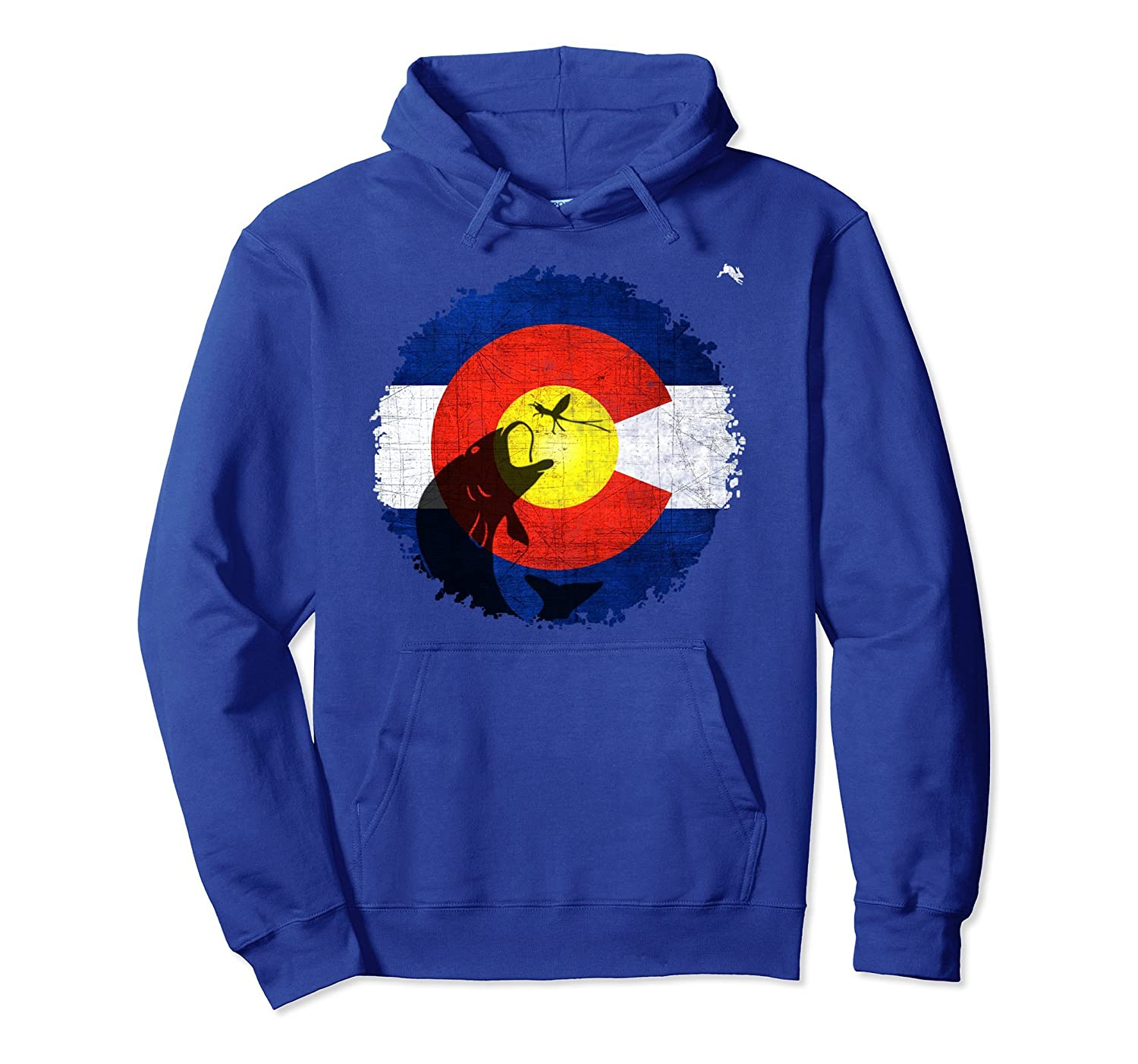 Colorado Flag Hoodie with Fly Fishing Design-ah my shirt one gift