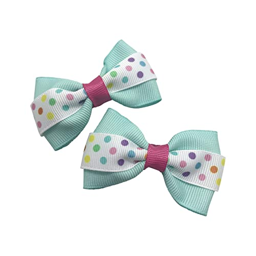 Glitter Hair Bow  Spring Summer Hair Clip Headband Girls Toddler Bow Light Green Spring Inspired Confetti Polka Dot Print Faux Leather