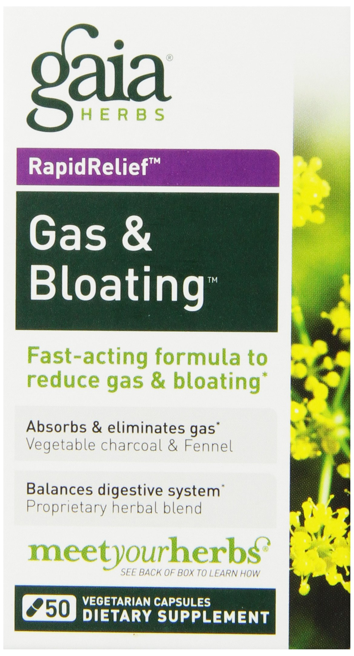 Gaia Herbs Gas and Bloating Dietary Supplement Capsules, 50 Count(Frustration Free Packaging)