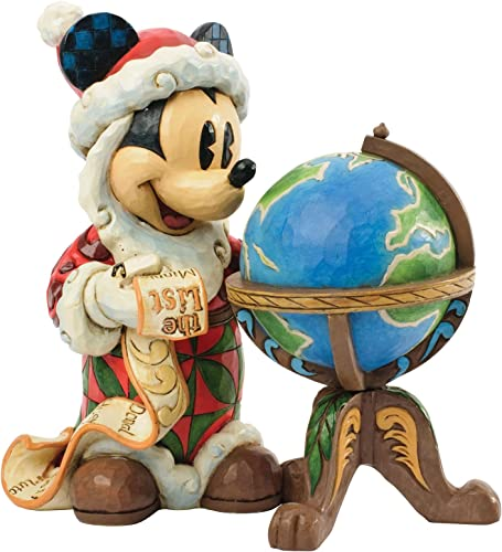 Disney Jim Shore Mickey Seasons Greetings Around World St. Mick With Globe Figurine