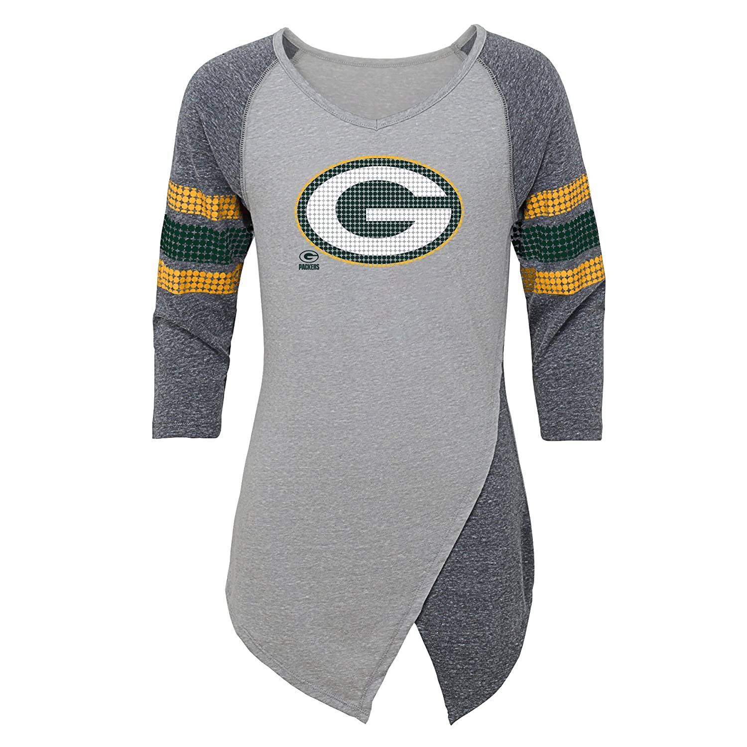 Outerstuff NFL Green Bay Packers Juniors Lavish Crossover Asymmetric Hem Top Heather Grey 0-1 Juniors X-Small