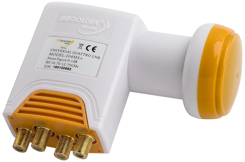 Golden Media Alta Ganancia Quattro-LNB Universal con Conectores Dorados Full HD, 4 K, 0,1 db Importado