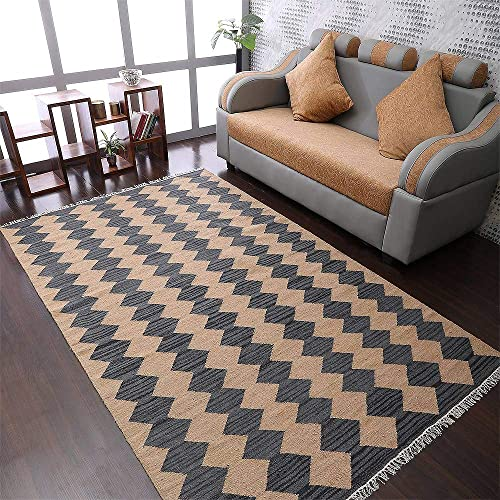 Rugsotic Carpets Hand Woven Flat Weave Kilim Wool 7 x9 Area Rug Contemporary Brown Charcoal D00108
