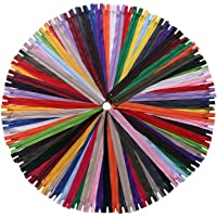 YAKA 60 Pack of 5 inch Mix Nylon Coil Zippers Bulk - Supplies Zippers for Tailor Sewing Crafts (20 Color) (5 inch-Pack…
