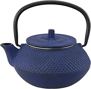 Creative Home Kyusu 10 oz. Cast Iron Tea Pot with Removable Stainless Steel Infuser Basket, Blue