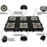 Hamlay Toughened Glass Burner Manual Ignition Gas Stove (6 Burner LPG Compatible Black)