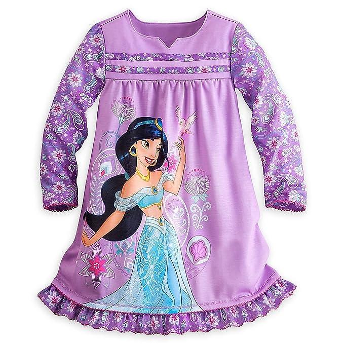 Tienda de Disney Jasmine Aladdin pijamas camisón de manga larga para niña, color morado