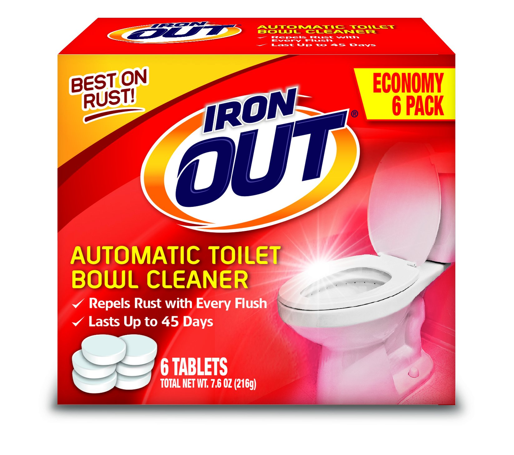 Iron OUT Automatic Toilet Bowl Cleaner, 1 Pack, 6 Tablets by Iron Out