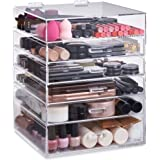 Beautify Extra Large 6 Tier Clear Acrylic Cosmetic Makeup Storage Cube Organizer with 5 Drawers, Upper Compartment and Removable Divider - 15 x 12 x 12 inches