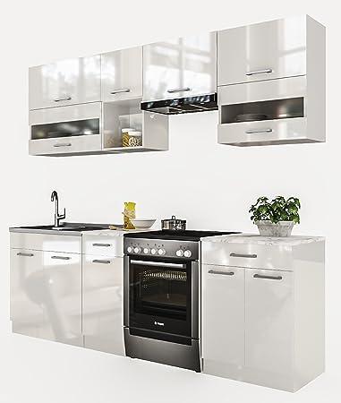 Neu küche alina weißlackiert 240 cm küchenzeile küchenblock einbauküche kueche