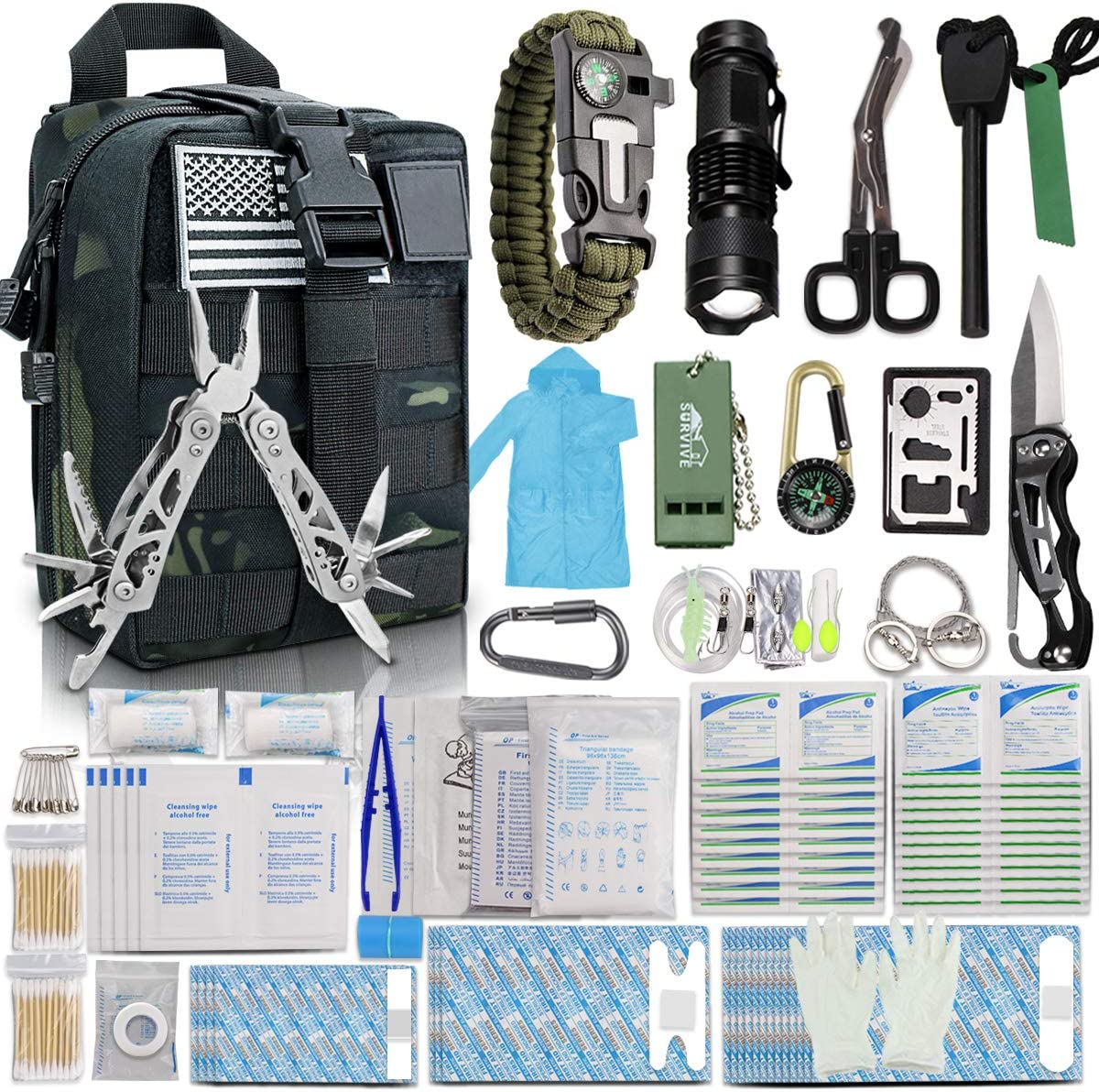 Monoki First Aid Survival Kit, 302Pcs Tactical Molle EMT IFAK Pouch Outdoor Gear EDC Emergency Survival Kits First Aid Kit Trauma Bag for Hiking Camping Hunting Car Travel or Adventures : Sports & Outdoors