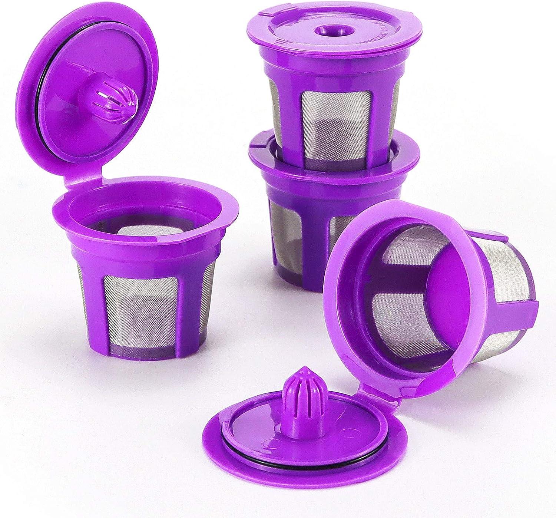 APPLIANCEMATES Refillable Reusable Single K-cups Filter Pod for Keurig 1.0&2.0 Brewers, Keurig K-Cafe,K-Latte,K45 Elite,K-Select,K-Compact,K-Classic Single Serve 4Pcs