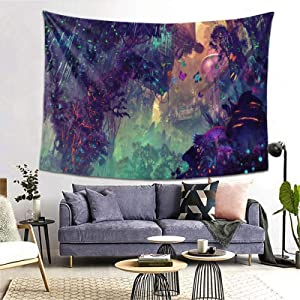 Psychedelic Forest Mushroom Cartoon Dreamy Butterfly Glowing Forest Colorful Tapestry Wall Hanging For Living Room Bedroom College Dorm Room Home Inhouse Decor