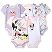 Disney Baby Minnie Mouse 5 Pack Bodysuits, Multi/Lavender Combo 12M