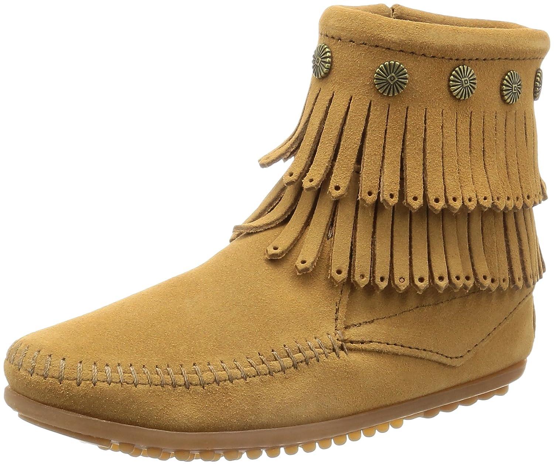 [ミネトンカ] ブーツ DOUBLE FRINGE SIDE ZIP BOOT B01KO5KQUO US 7(24.0~24.5 cm)|TAUPE(トープ) TAUPE(トープ) US 7(24.0~24.5 cm)
