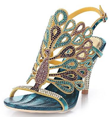 Honeystore Damens Pfau geformt Pattern Handgemacht Strass Sandalen