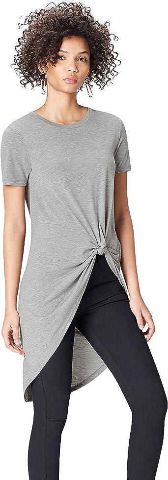 TALLA 42. Marca Amazon - find. Camiseta Extralarga con Cuello Redondo Mujer