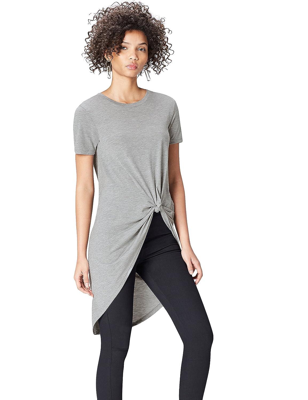 TALLA 42 (Talla del fabricante: Large). Marca Amazon - find. Camiseta Extralarga con Cuello Redondo Mujer