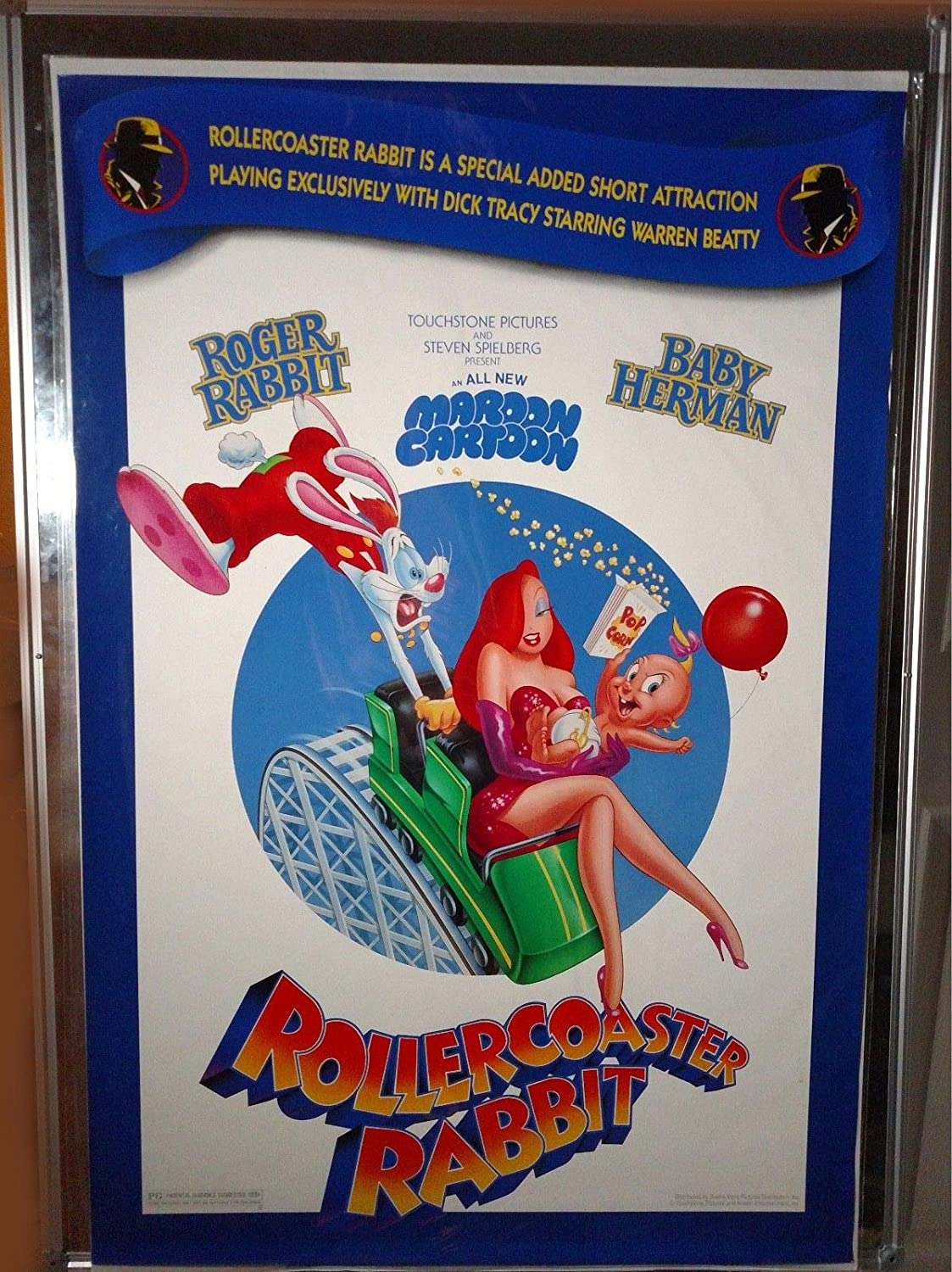 Roger Rabbit Dick Tracy Jessica Rollercoaster Original Double Sided 27x40 Movie Poster 1990