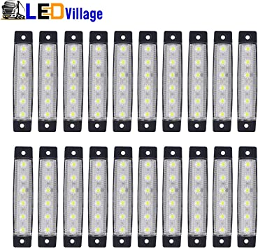 20 pcs 12V 6 SMD LED White Clear Side Marker Indicators Lights Truck Trailer Bus