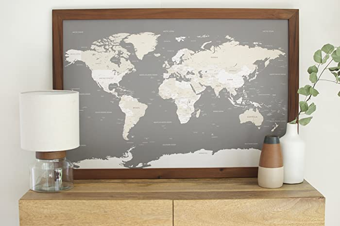 Amazon classic world map large push pin travel map framed classic world map large push pin travel map framed world map in handcrafted wood gumiabroncs Image collections