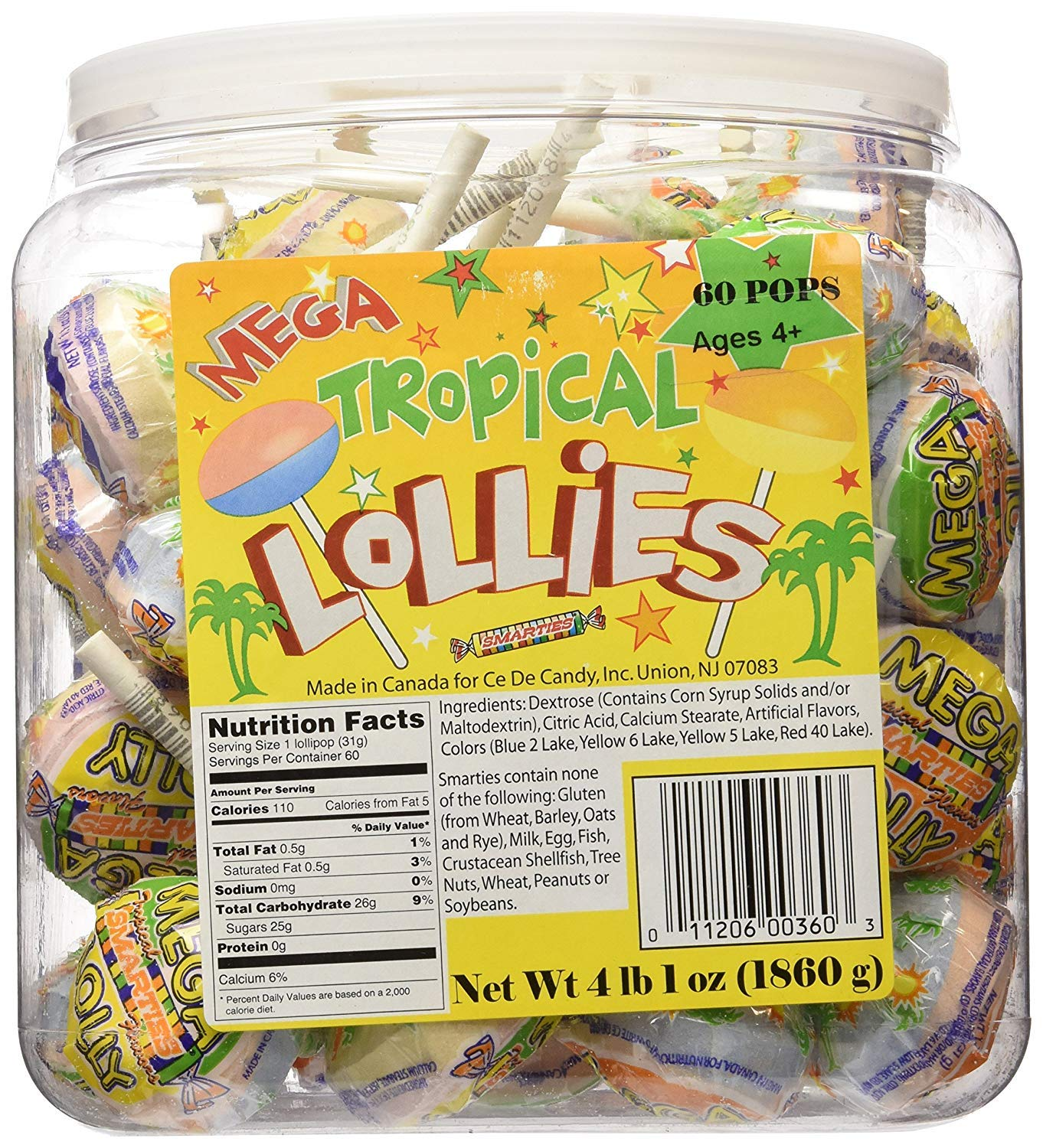 Ce De Candy Mega Tropical Lollies (60 Pops Per Tub) (Pack of 2) by Smarties