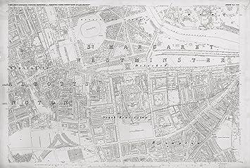 South Kensington London Map.London 1872 Ordnance Survey Map Poster Sheet Xlii South