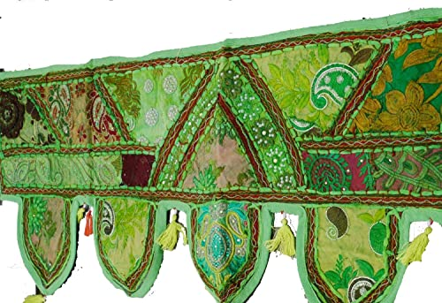 iinfinize – 1 Meter Embroidered Patchwork Toran Vintage Wall Hanging Tribal Gypsy Handmade Door Window Valances Home Decor Topper Tassels Lace Boho Indoor Outdoor Door Hanging Wedding Parties Toran