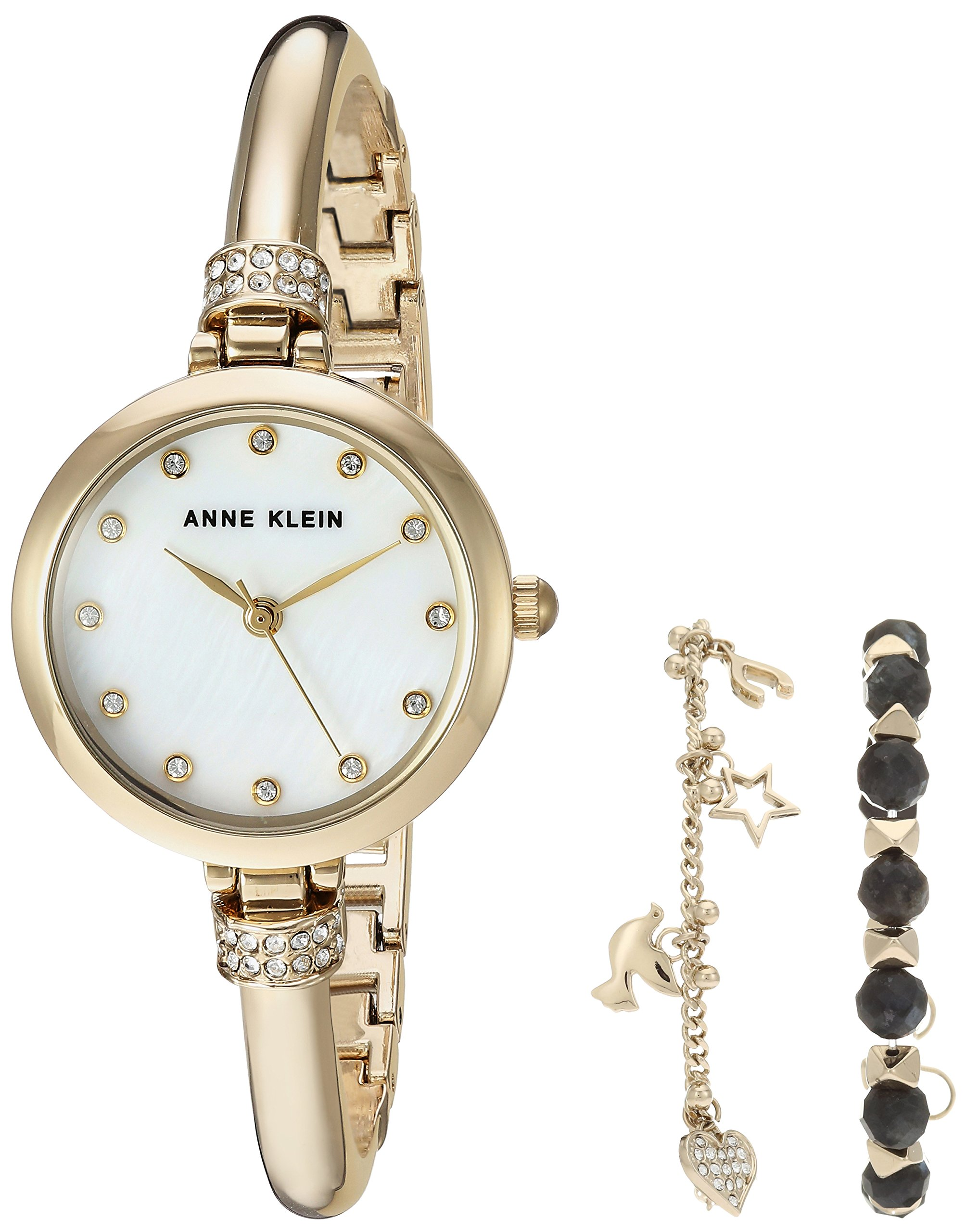Anne Klein Women's AK/2840LBDT Swarovski Crystal Accented Gold-Tone Bangle Watch and Bracelet Set