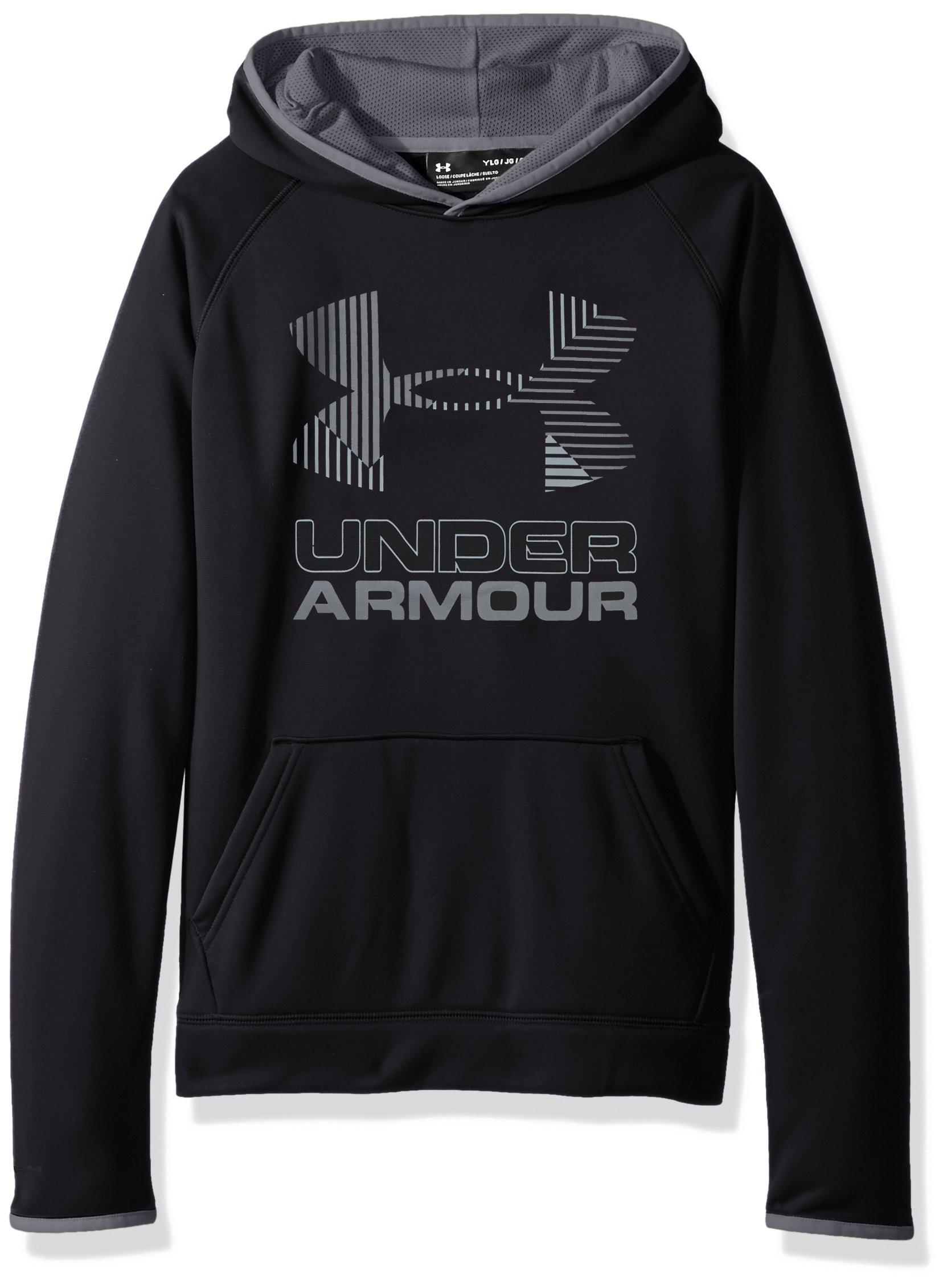 Under Armour Boys' Armour Fleece Solid Big Logo Hoodie, Black /Steel, Youth X-Small