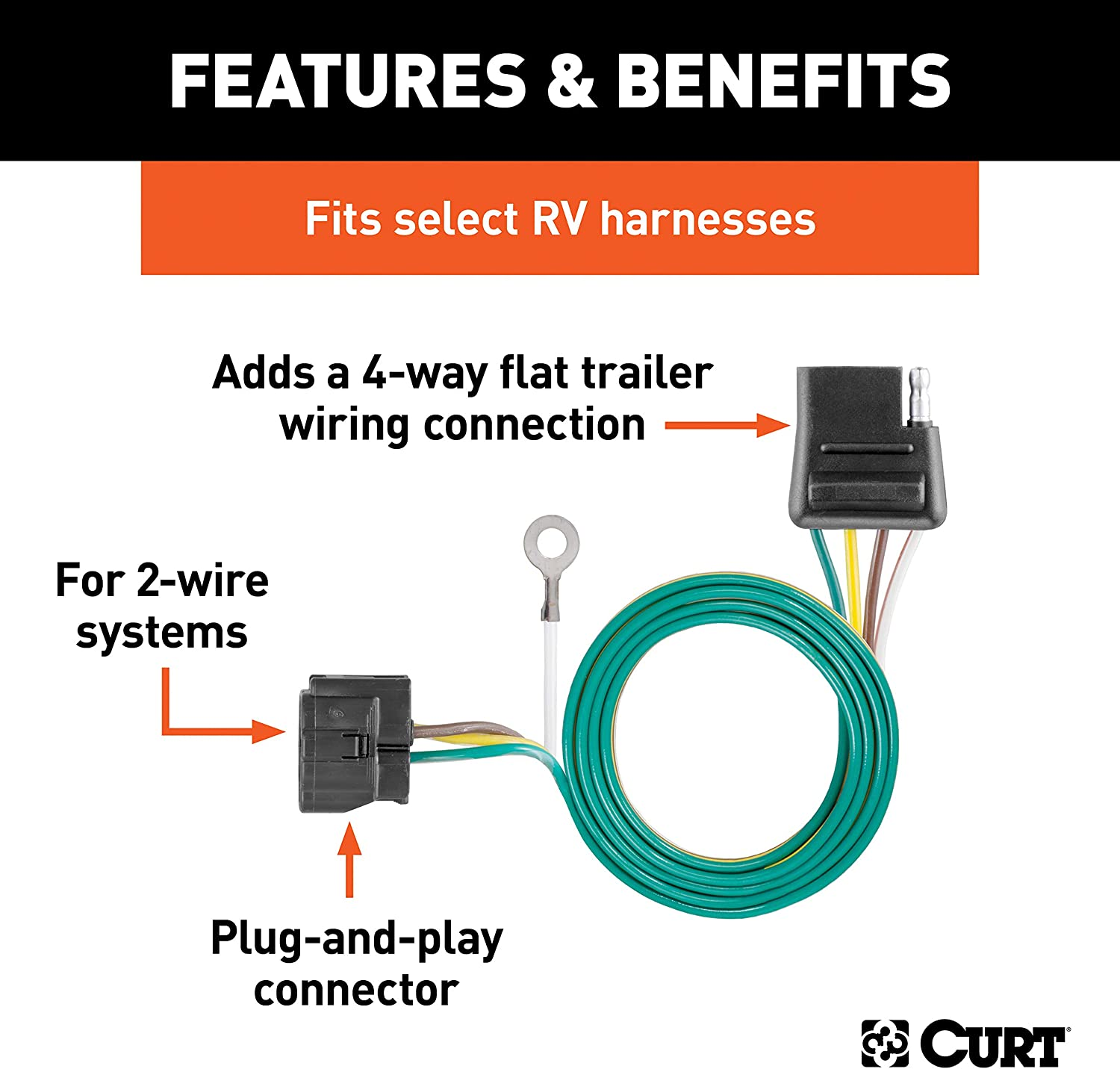 CURT 58918 Towed-Vehicle RV Wiring Harness Add-On 4-Pin Trailer Wiring