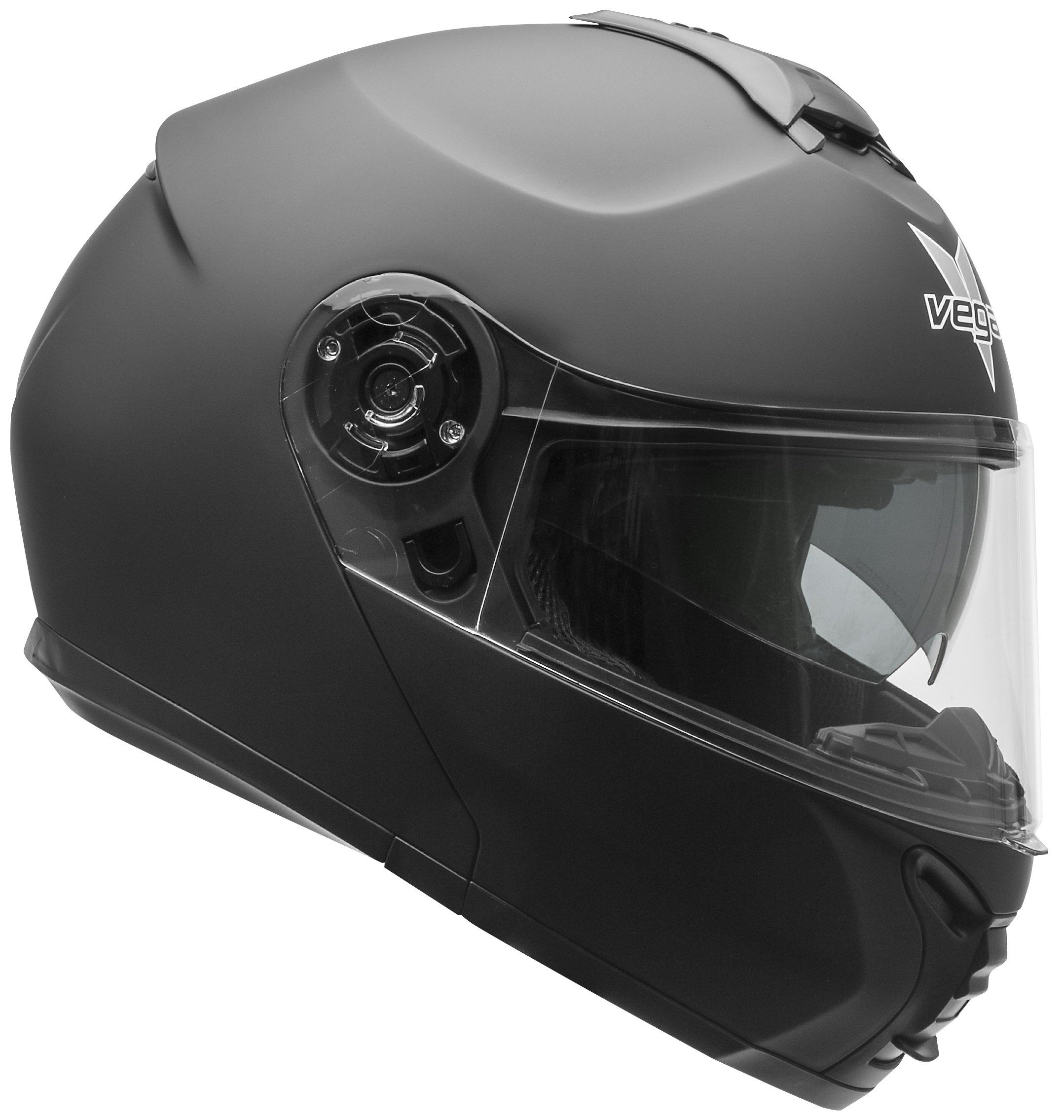 Vega Helmets VR1 Modular Motorcycle Helmet with Sunshield - DOT Certified Half to Full Face Flip Up Motorbike Helmet for Cruisers Scooter Touring Moped, Bluetooth Compat (Matte Black, Medium) by Vega Helmets