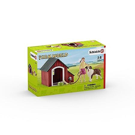 Schleich -Caseta de Perro con Hembra de Pastor Australiano y Niña: Amazon.es: Juguetes y juegos
