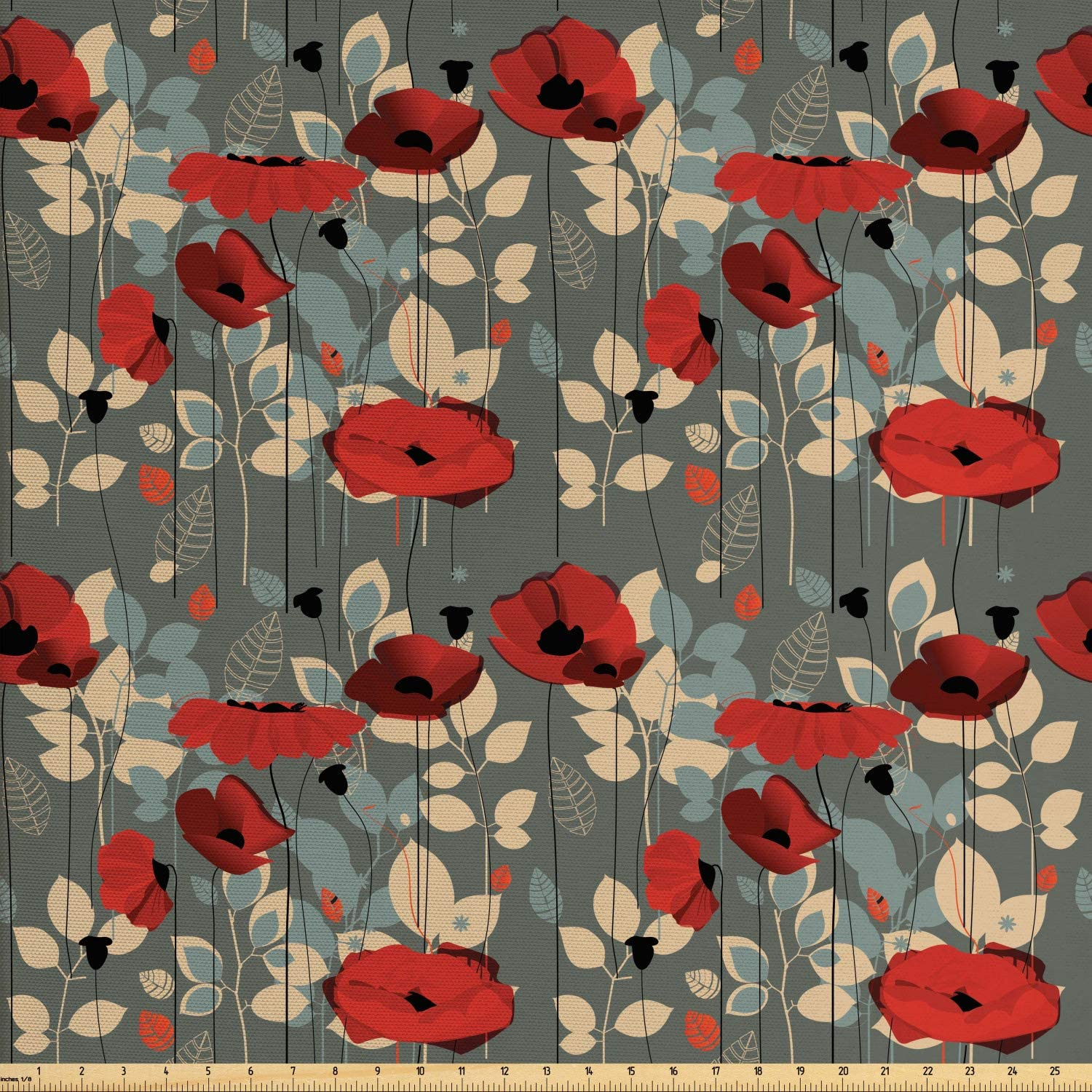 Ambesonne Poppy Fabric by The Yard, Abstraction of a Growing Floral Garden Leaves Botanical Modern Nature Display, Decorative Fabric for Upholstery and Home Accents, 2 Yards, Beige Grey