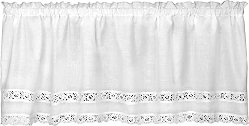 Heritage Lace Blue Ribbon Crochet Valance, 54 by 16-Inch, White