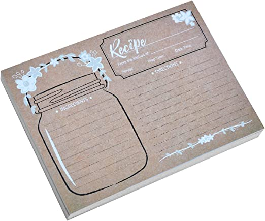 Home Advantage 5x7 Vintage Recipe Cards Mason Jar 50, Kraft