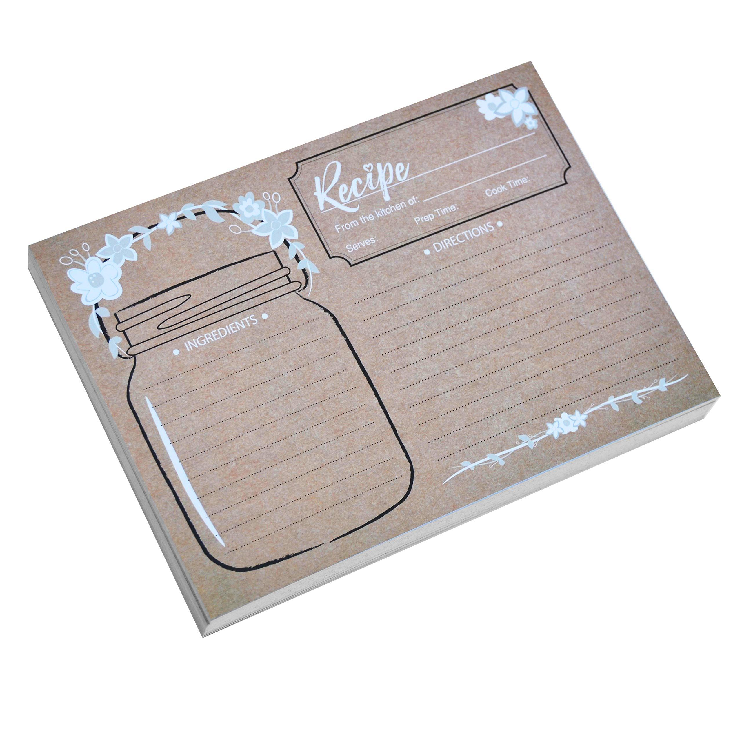 Home Advantage 5x7 Vintage Recipe Cards Mason Jar (50, Kraft)