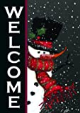 Toland - Snowman Welcome - Decorative Double Sided Winter Christmas Black USA-Produced Garden Flag