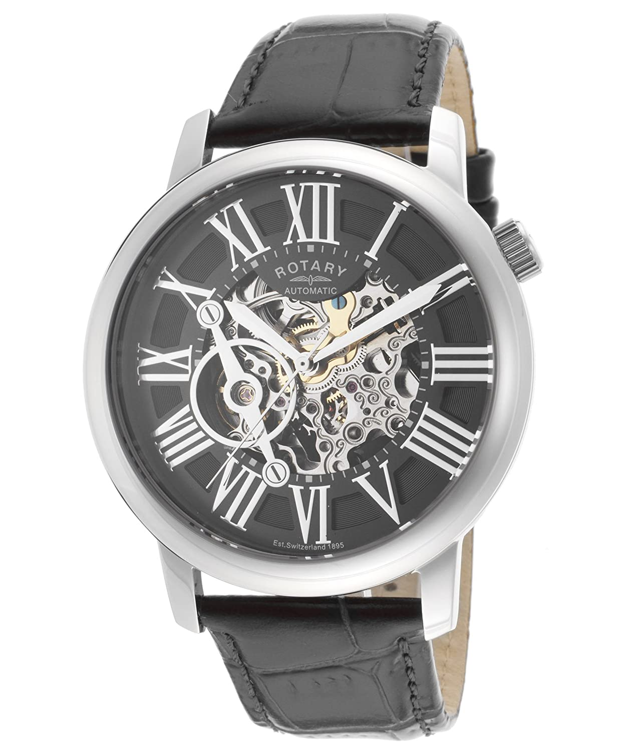 Amazon.com: Rotary Mens Automatic Watch with Skeleton Dial and Black Leather Strap: Watches