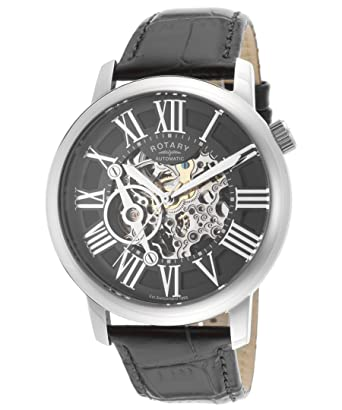 Rotary Mens Automatic Watch with Skeleton Dial and Black Leather Strap