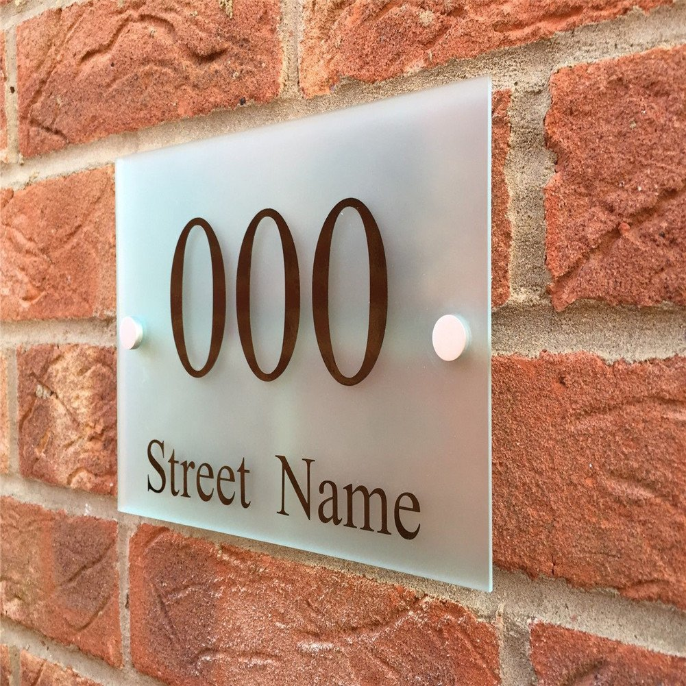 Custom-made Modern House/Hotel Street Sign Plaque Door Number Full Frosted Glass Effect Acrylic Name (Mediun(200/140mm))