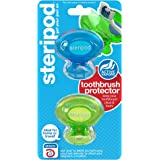 Steripod Clip-on Toothbrush Protector (2-Pack Blue & Green) I Against Soap I Dirt I Hair I Sand I For Travel, Home, Camping - Stay fresh