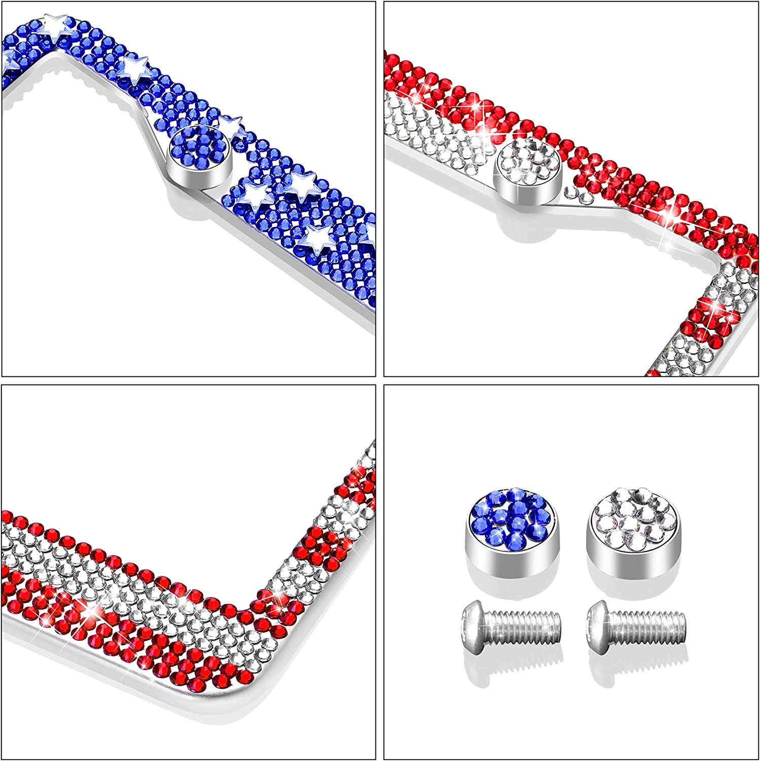 Newzon 2 Pack Car Plates American Flag License Plate Frames Personalized Bling Crystal Rhinestones Diamonds Stainless Steel Car Number Plate Holder Waterproof 2 Hole Anti-Theft in Novelty Gift Box