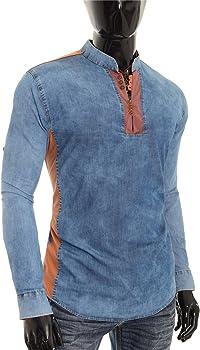 D&R Fashion Camisa Vaquera Azul para Hombre V-Cuello Cuello Alto Parche de Codo Slim Fit: Amazon.es: Ropa y accesorios