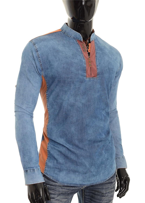 D/&R Fashion Camicia in Denim Blu da Uomo V-Collo Colletto alla Coreana Toppa sui Gomiti