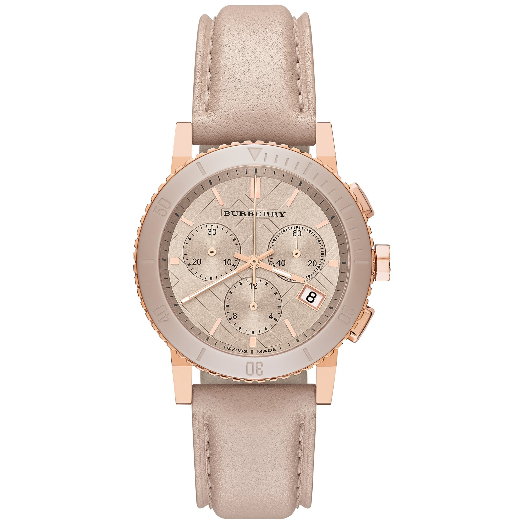 Burberry The City SWISS LUXURY CERAMIC Women 38mm Round Rose Gold Chronograph Watch Nude Leather Band Nude Sunray Date Dial BU9704 by BURBERRY (Image #1)