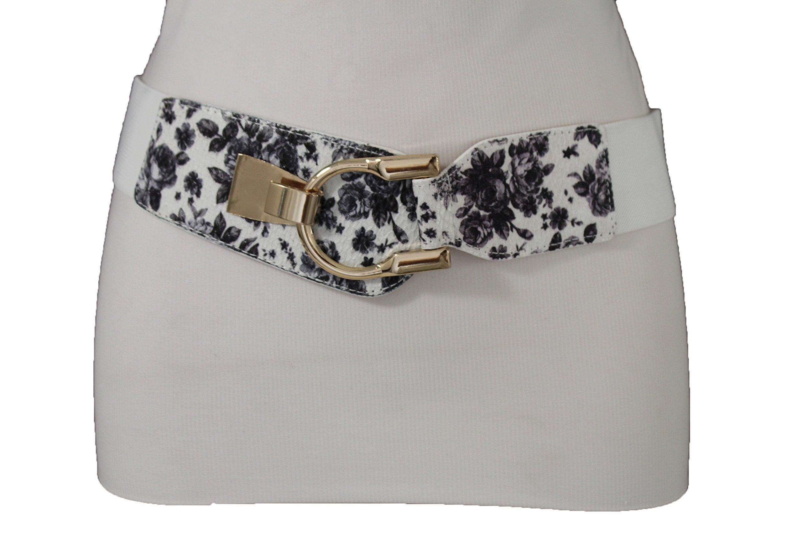 TFJ Women Elastic Fashion Floral Belt Hip High Waist Gold Buckle Elastic Plus M L XL