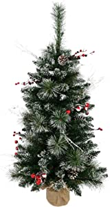 """Vickerman B166236 Snow Tipped Pine and Berry Tree with Berries, Vines, Real Pine Cones & 134 PVC Tips In Burlap Base, 3' x 17"""", Unlit"""