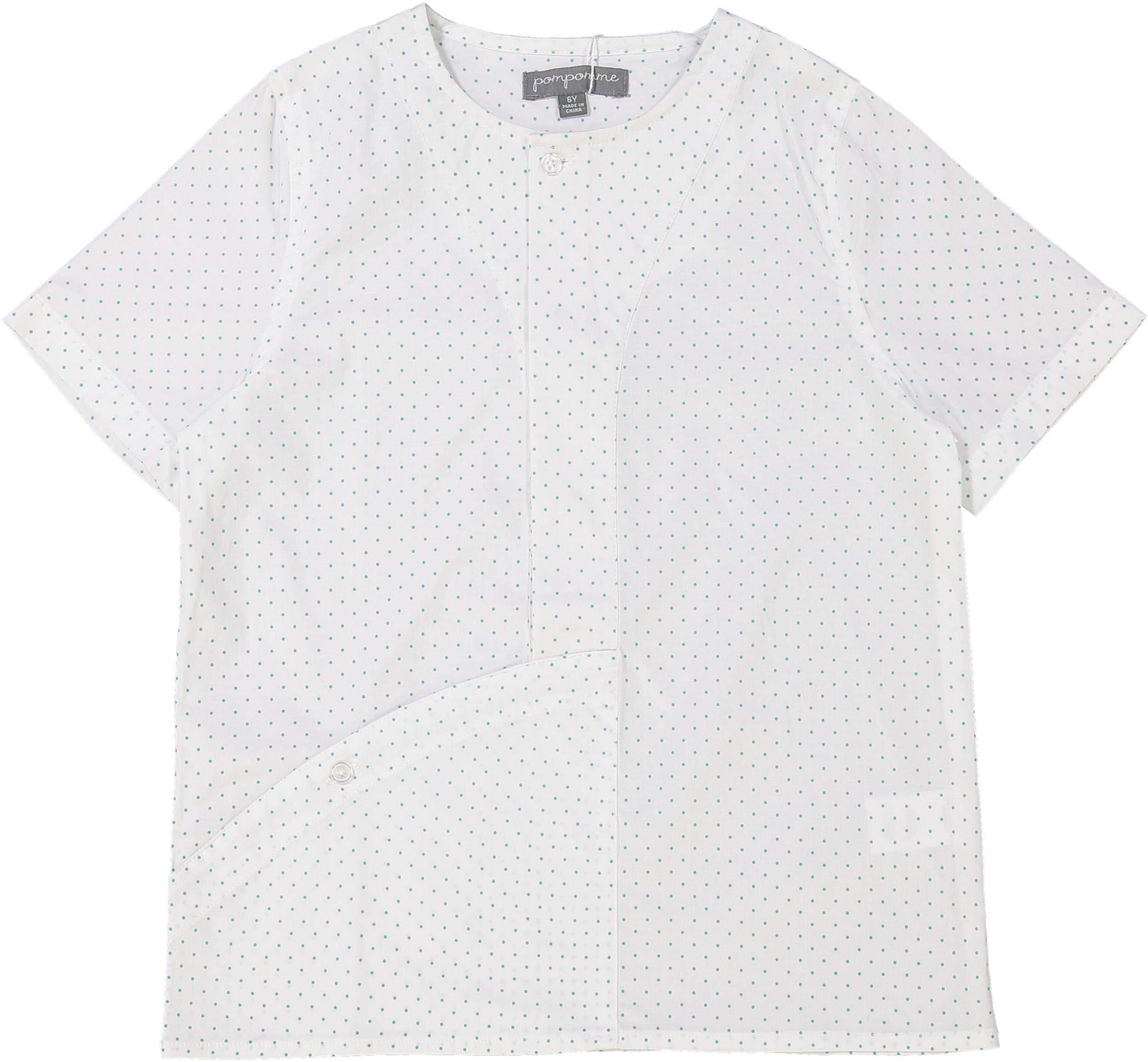 Pompomme Boys Short Sleeve Dress Shirt with No Collar - 7304EM - Emerald, 18 Months