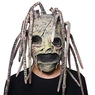 2020 Corey Taylor Full Head Latex Mask Vintage Green Face Hood Dreadlocks Slipknot Fancy Dress Halloween Cosplay Music Party Prop: Clothing